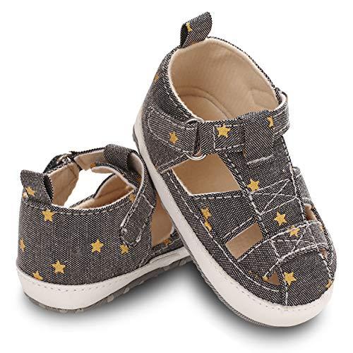 Baby Sandalen Weicher Lauflernschuhe Krabbelschuhe Babyhausschuhe mit Leichte rutschfeste Sohlen Junge Mädchen Atmungsaktiv Leicht Sportschuhe Turnschuhe Babyschuhe Anti-Slip (Größe 15)- Grau
