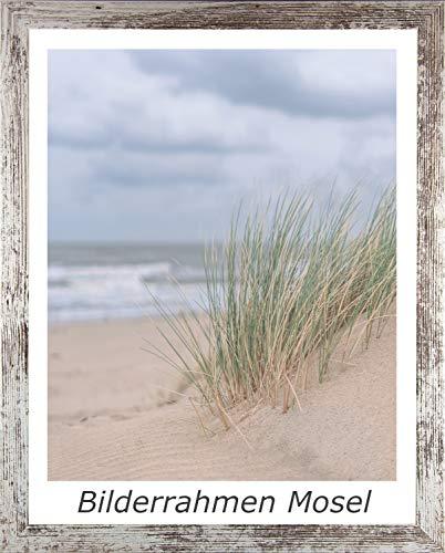 Schloss Bilderrahmen Mosel Posterrahmen Puzzlerahmen Wechselrahmen 48 x 64 cm Weiss Vintage mit 1 mm klarem Kunstglas