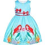 Sunny Fashion Vestido para niña Azul Casual Sirena Doble Corbata de moño Fiesta 4-5 años