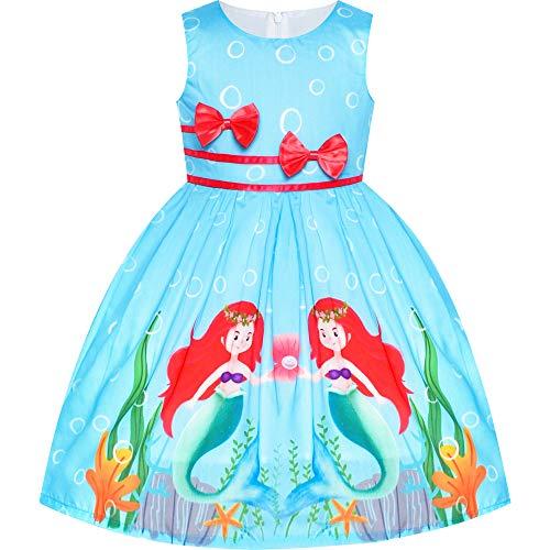 Sunny Fashion Vestido para niña Azul Casual Sirena Doble Corbata de moño...