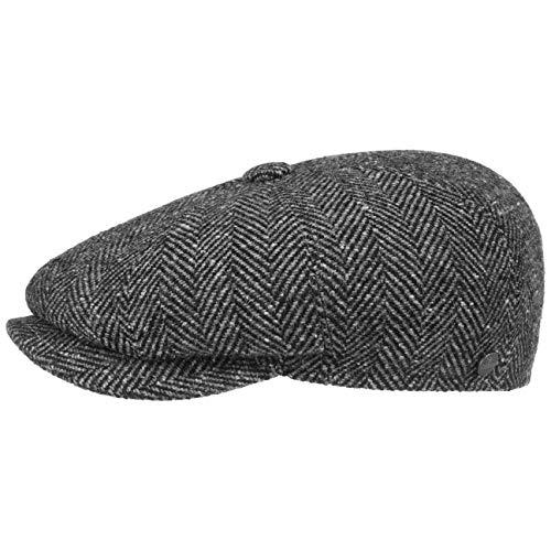 Lierys Fischgrat Flatcap (Schiebermütze) für Herren, Hatteras Cap gefertigt aus Schurwolle (Tweed) mit klassischen Fischgräten Muster (XL/60-61, schwarz)
