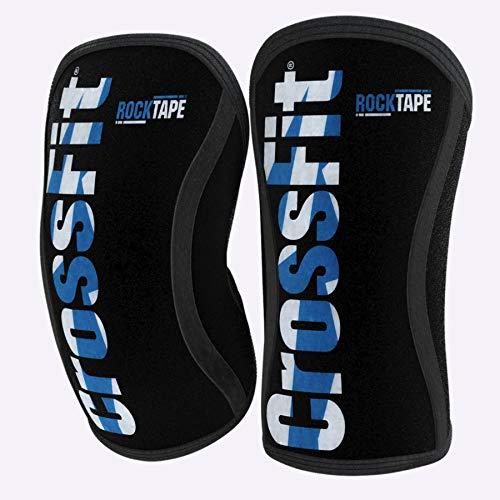 RockTape Kniebandage, 2 Stück, Wettkampfqualität, 5 mm oder 7 mm Dicke, Kompressions-Neopren, extra lang für VMO-Unterstützung, Assassins, 1801-CFBL-7M, Crossfit Blue, 7mm M