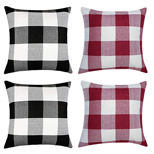 WiliW 4 Pack Pillow Covers 18 X 18 inch,Decorative Cushion Black-White Red-White Square Throw Pillow Case Classic Retro Buffalo Checkers Plaid Pillowcase Linen for Couch Sofa Bedroom Farmhouse Car
