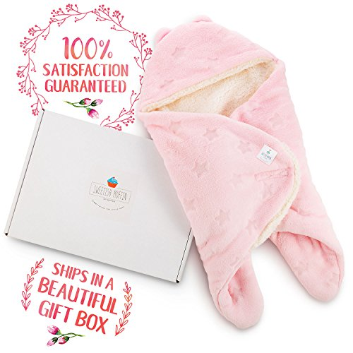 Receiving Blanket Wrap Swaddle-For Newborn Baby Nursery -Perfect Baby Shower Gift For Baby Boys-Super Soft -100% Plush Coral Fleece Double Layered Fabric - Pink Stars- With Gift Box (Pink) …