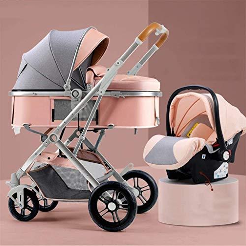 YZPTD 3 en 1 Cochecito de Cochecito de bebé Cochecito de Lujo Plegable Stroller Absorción de Choque PrAM Vista Alta Cochecito de bebé con Bastidor de Botellas, para bebés y niños pequeños
