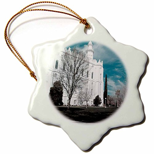 3dRose orn_47501_1 The St. George, Utah LDS Temple in Cool Tones Snowflake Ornament, Porcelain, 3-Inch