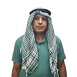 Horus. Pañuelo palestino shemagh keffiyeh hatta árabe unisex. 100% algodón. Con o sin agal. wrap. bufanda (Verde blanca egipcia con agal)