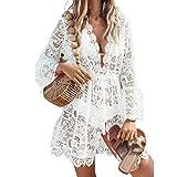 CiKiXZ Robe de plage en dentelle avec décolleté en V pour femme - Blanc - Small