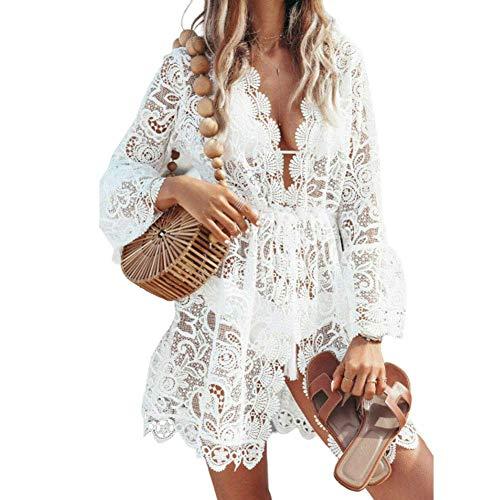 CiKiXZ Damen Spitze Strandkleid V-Ausschnitt Badeanzug Bedecken Pareos Kimono Cardigan Strandkleid Boho Transparent Strandponcho (Weiß, S)