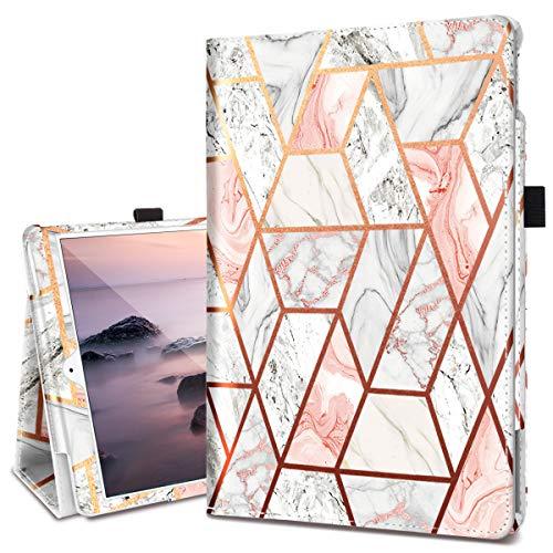 Fingic iPad 10.2 2019 Case, iPad 10.2 2020 Case, iPad Air 3 10.5 2019 Case PU Leather Marble Folio Stand Auto Wake/Sleep with Pencil Holder Protective iPad 10.2 2019/ iPad Pro 10.5 2017 Case,Rose Gold