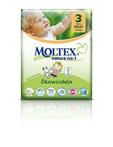 - Moltex Nature No1 Peanuts - Pannolini ecologici per neonati, taglia 3 media (4-9 kg), 4 sacchetti con 34 pezzi l'uno