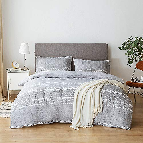Lekesky Duvet Cover Set King Size with Zipper Closure Microfiber Quilt Cover Sets Includes 2 Pillowcases, Grey