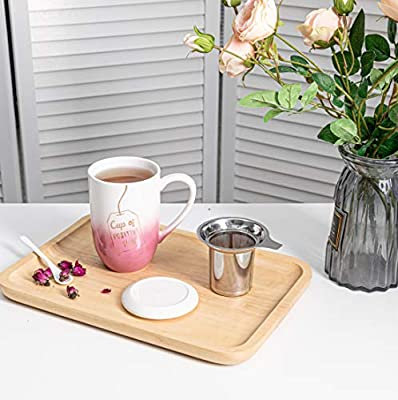 Hawoo Ceramic Tea Mug with Infuser and Lid, 18 Oz Large Tea Cup, Loose Leaf Tea Infuser Cup W/Steeper for Home, Office, Women Gift (Pink)