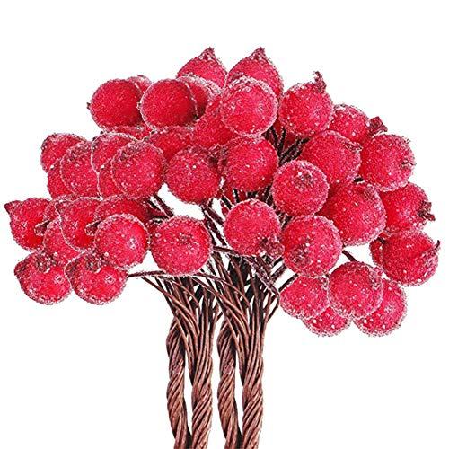400pcs Mini Weihnachten Künstliche Frucht Beere Holly Blumen Gefälschte Fruchtbeeren Drahtstiele für Weihnachtsbaumschmuck Blumenkranz DIY Handwerk Verwenden Sie Hochzeitsfeier Gunst, Frosted Berry