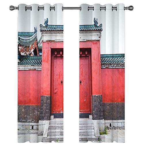 Cortinas Salon Dormitorio Moderno Cortinas Ventana Opacas termicas aislantes Impresión Digital 3D - Edificio Puerta roja 200 X 160 CM(Ancho x Alto)