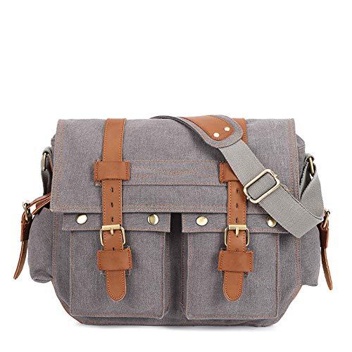 Men's canvas bag with leather one shoulder messenger bag leisure briefcase Multi Pocket messenger bag
