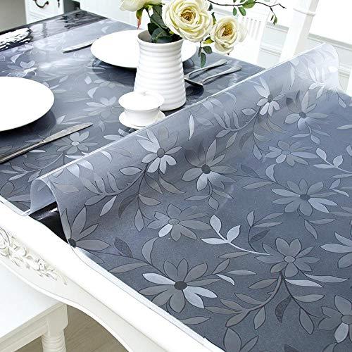 Rotagrod Mantel Mantel De PVC Mantel Cubierta De Mantel Transparente Impermeable Patrón De Cocina Mantel De Aceite Vidrio Mantel Suave 1.0Mm-Flower_65X100Cm