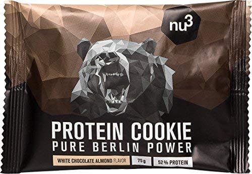 nu3 Protein Cookie Biscotti Proteici LOW CARB 12 x 75G | 60% Carboidrati in Meno dei Biscotti Tradizionali | Gusto Cioccolato Bianco e Mandorle con Croccanti Pezzi di Cioccolato | 39g Proteine