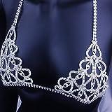 NOBRAND LBDH Declaración del Cuerpo del Rhinestone del corazón Encanto Sujetador joyería de Partido de Las Mujeres de Cuerpo Bralette Cadena de la Tapa del Collar