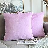 MIULEE Weiche, solide dekorative quadratische Fell-Kissenbezüge für Sofa, Schlafzimmer, Auto,...