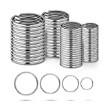 Ruesious Round Key Rings 15/20/25/30mm,Keyring Split Ring Steel,Key Chain Ring Connectors,Circular...