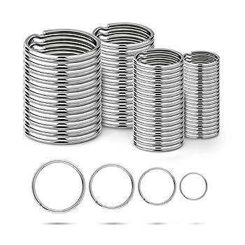 Ruesious Round Key Rings (15/20/25/30mm,Keyring Split Ring Steel,Key Chain Ring Connectors,Circular Keychain,Keyring Loops(40 Pack)