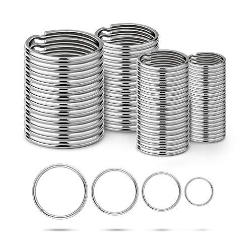 Ruesious Round Key Rings 15/20/25/30mm,Keyring Split Ring Steel,Key Chain Ring...