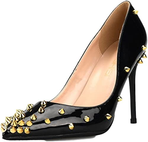 Femmes Stiletto Haut Talon Fermé Toe Toe Court Chaussures Chaussures De Soirée Clubbing en Cuir Verni Pompes Sexy,noir-10cm-32  pas cher en haute qualité