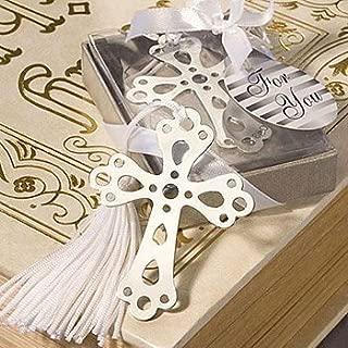 Akanbou(TM) Silver Cross Bookmarks with White Tassel: Metal Cross Bookmark Favors (Pack of 8)