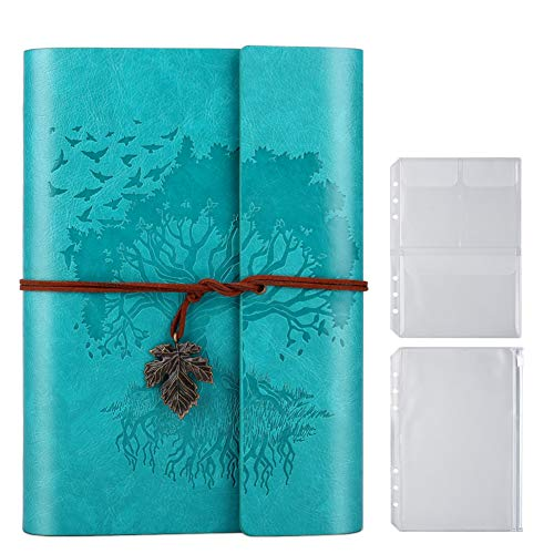 PU-Leder-Tagebuch, Blanko-Seiten, nachfüllbar, Vintage-Skizzenbuch, Reise-Notizbuch, Tagebuch, Geschenk für Mädchen, Jungen, Frauen, Männer, 23,9 × 16,5 cm, Blau