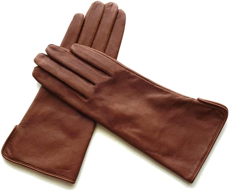 Rebily Autumn and Winter Ladies Gloves Sheepskin Genuine Leather Keep Warm Cold Protection Leisure One Size Touch Screen Driving Riding Full Finger Gloves