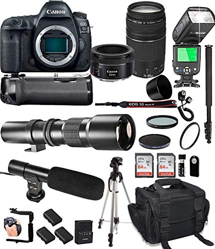 Canon EOS 5D Mark IV with 50mm f/1.8 STM Prime + Canon 75-300 III Lens + 500mm Telephoto + 128GB Memory + Pro Battery Bundle + Power Grip + TTL Speed Light + Pro Filters,(25pc Bundle) (Renewed)