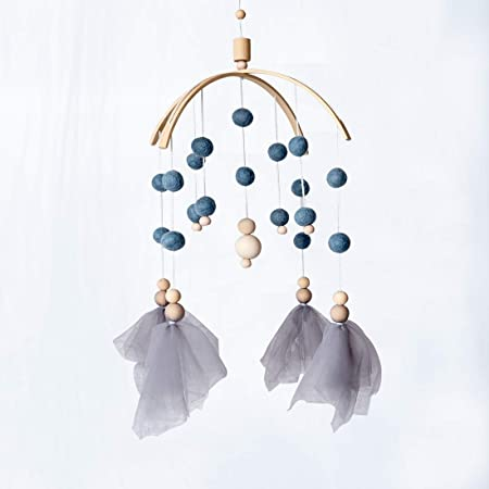Okawari Home モービル 木製 ブルー ゆらゆらおもちゃ 羊毛フェルト 手作りベッドメリー シープ 癒しリラックス リビング ベッドルーム 木のおもちゃ 赤ちゃん ベビー ギフト 出産祝い