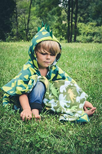 Car Seat Poncho Toddler Boy Blanket Green Dinosaur Warm Safe Use OVER Seat Belts Baby Toddler with Spikes Costume