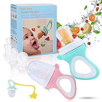 Baby Fruit Food Feeder Pacifier - Fresh Food Feeder Silicone Infant Fruit Teething Toy 2 Pack with 6 Silicone Sac and 1 Pacifier Clip  Cyan & Light Pink
