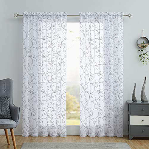 """Variegatex Gray Sheer Curtains 84 Inches Long for Living Room Bedroom, Glitter Silver Scroll Embroidered on White Texture Voile Window Drapes with Rod Pocket, 54"""" W 2 Panels"""
