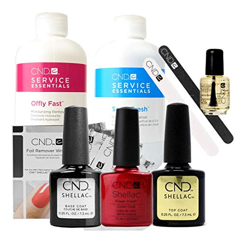 Official CND Shellac Starter Kit - Red Baroness Farbe Starter-Set - Top & Base Coat + Essentials