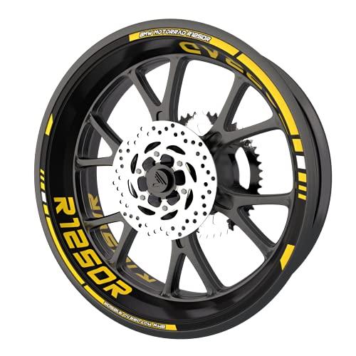 Pack completo de pegatinas para llantas para BMW R1250R calidad premium (8 pegatinas para 2 ruedas), color amarillo