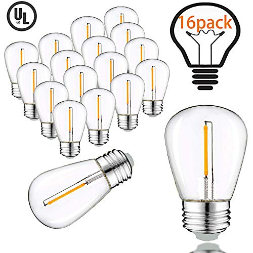 1W S14 LED String Light Bulbs, Equal to 11Watt Incandescent Bulbs,2200K Warm White,Weatherproof Plastic Edison Vintage Style Replacement 11W Outdoor Light Bulbs,E26 Medium Base (16Pack)