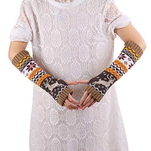 Nuevos Guantes de Medio Dedo para Hombres y Mujeres, de Punto, cálidos, sin Dedos, manopla de Punto Larga, Color sólido, Moda, Calentadores de Brazos para Mujeres-32cm Khaki
