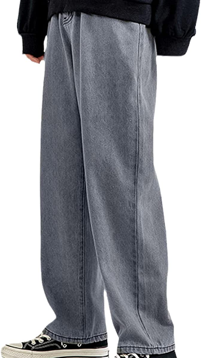CACLSL Men's Jeans Fashion Loose Straight Leg Casual Wide-Leg Pants Denim Streetwear Korean Hip-hop Pants