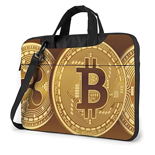 Bolsa para portátil de 13-15,6 Pulgadas Criptomoneda Bitcoin BTC ETH LTC Bolso de Hombro para portátil Bolso de Hombro Elegante Ordenador Portátil