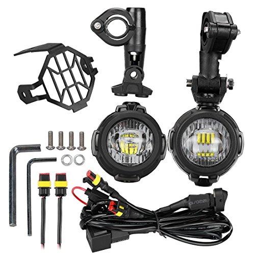 LITTOU KOLOME LED Faros Adicionales de Moto Luz Antiniebla 6000 K 40 W 3000 lm para Moto + Arnés de cables y Escudo