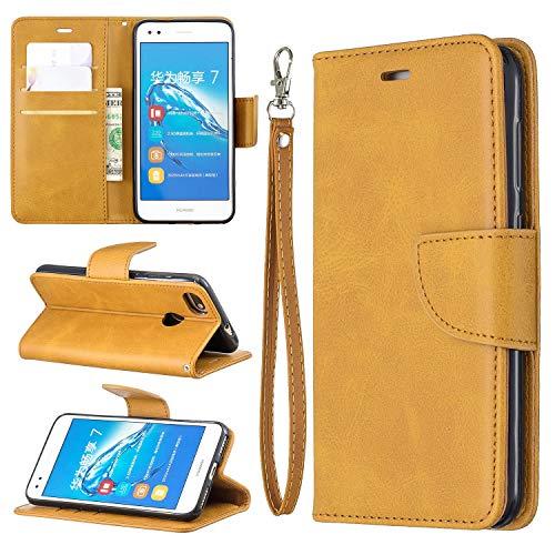Cáscara del teléfono Caso para Huawei P9 Lite Mini Mini Multifuncional Teléfono Móvil Caja de cuero Premium Color Sólido PU Caja de cuero, Titular de la tarjeta de crédito Función Función Caja plegabl