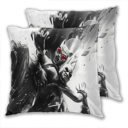 Set di 2 federe per cuscini per divano Batman e Catwoman Arkham City Home poliestere morbido quadrato per divano, letto, auto, caffè, feste, 45 x 45 cm