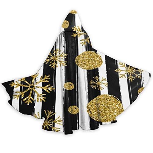 Amanda Walter Capa para Adultos para Halloweenn Gold Black White Stripe Unisex Tnica Larga Disfraz de Halloween Capa Uniforme Capa