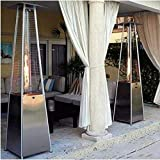 Shirt Luv Outdoor Heater, New Pyrami-d Patio Propane Heater W/Wheels, 91 Inches, Hammered US Stock