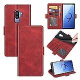 AKC Funda Compatible para Samsung Galaxy S9 Plus Carcasa Caja Case con Flip Folio Funda Cuero Premium Cover Libro Cartera Magnético Caso Tarjetero y Suporte-Rojo