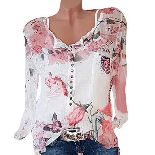 TWIFER 2020 Chiffon Sommer Shirt Damen beiläufige Blumen Druckknopf T Shirt Chiffon unregelmäßige Rand Spitzenbluse