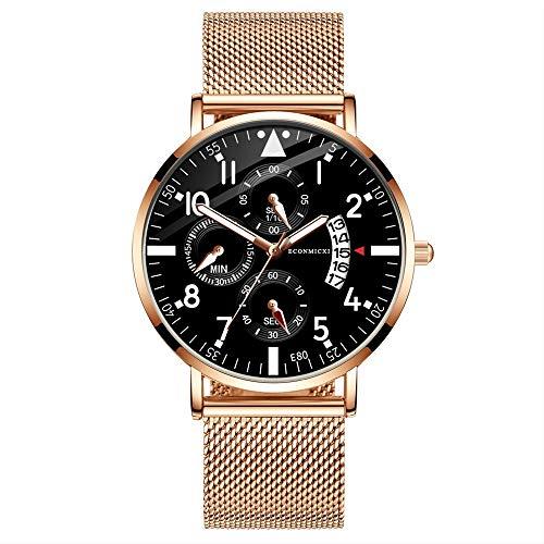 Yivise Reloj analógico de Cuarzo Hombre Reloj de Pulsera Impermeable Ultra Delgado de Moda(E)